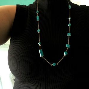 KATE SPADE / blue jewels long statement necklace